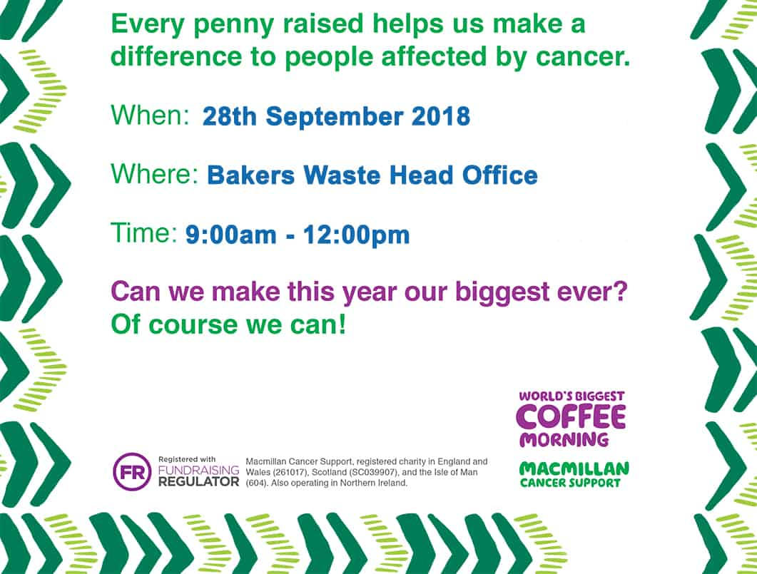 2/2 bakers macmillan coffee morning poster