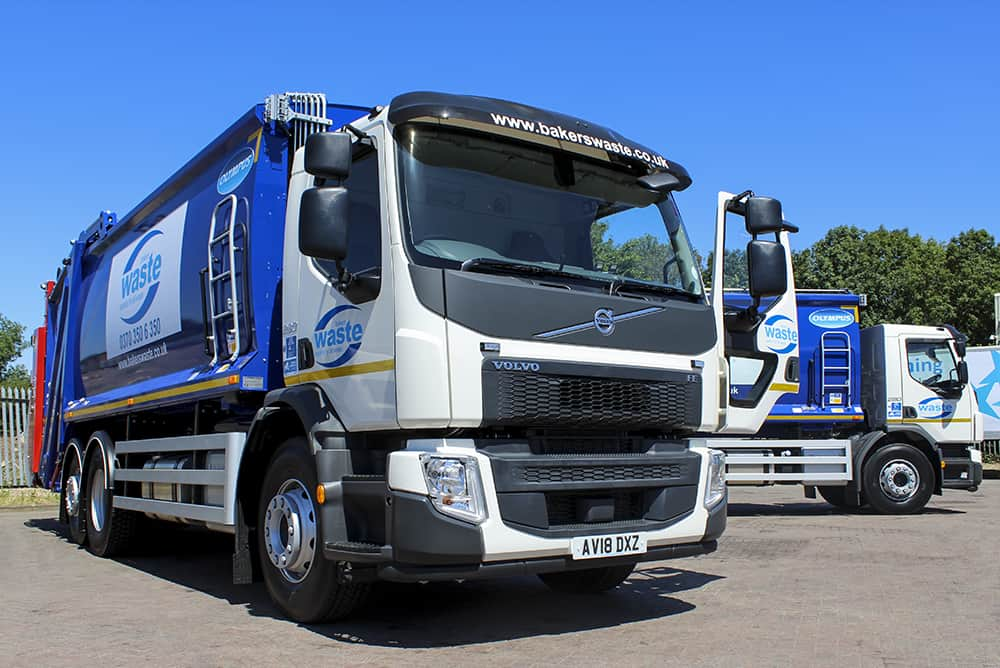 Two Volvo Trade Waste Vehicles