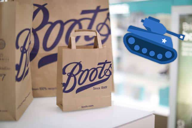 boots paper with tank